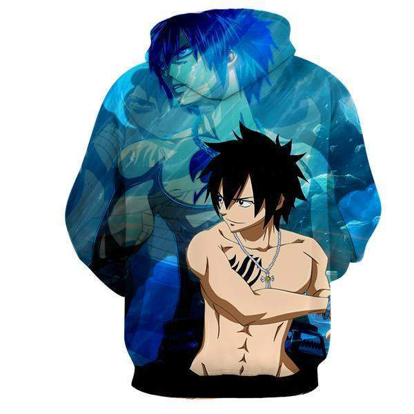 Gray Fullbuster Tattoo Fairy Tail Blue 3D Printed Zip Up Hoodie XS Official Fairy Tail Merch