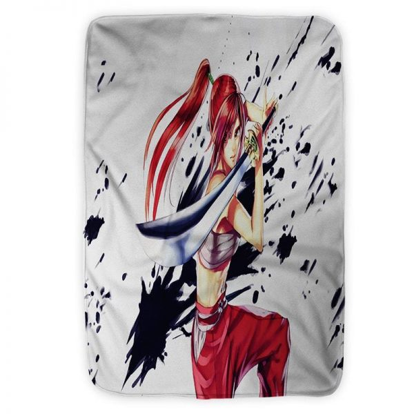 Erza Scarlet  Clear Heart Clothing Embossed Ink Fist Fairy Tail Blanket Small (30 x 40 in) Official Fairy Tail Merch