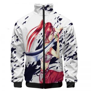 Erza Scarlet  Clear Heart Clothing Embossed Ink  Zip Up Sweatshirt Jacket XS Official Fairy Tail Merch