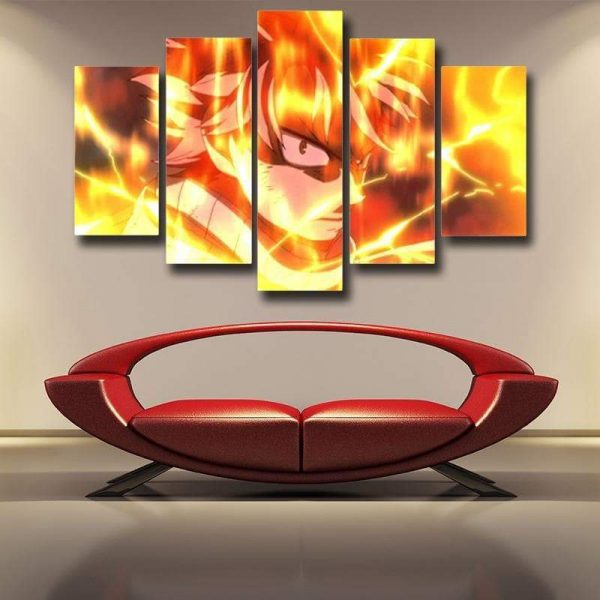 Fire Dragon Slayer Natsu Fairy Tail Canvas 3D Printed S / Framed Official Fairy Tail Merch