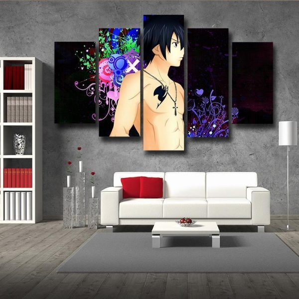 Gray Fullbuster Black Fairy Tail Canvas 3D Printed S / Framed Official Fairy Tail Merch