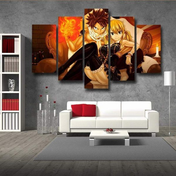 Fairy Tail Canvas 3D Printed Lucy & Natsu Siting S / Framed Official Fairy Tail Merch