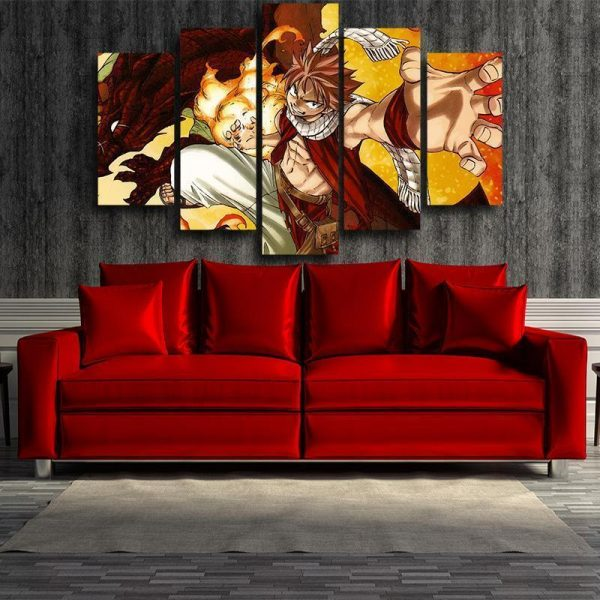Fairy Tail Canvas 3D Printed Natsu And Igneel S / Framed Official Fairy Tail Merch