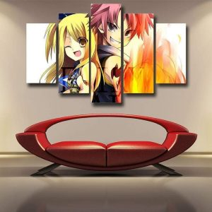 Fairy Tail Canvas 3D Printed Natsu And Lucy Smiling S / Framed Official Fairy Tail Merch