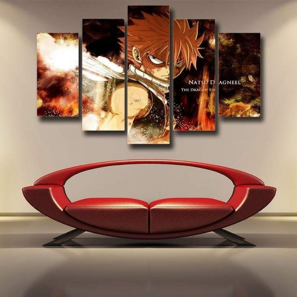 Natsu Dragneel Face Fairy Tail Canvas 3D Printed S / Framed Official Fairy Tail Merch