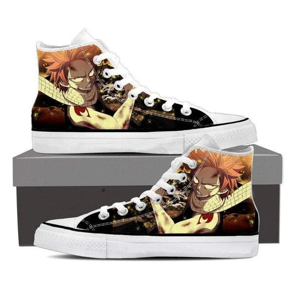 Brown Magnolia Customized Angry Natsu Fairy Tail Sneaker Shoes 5 Official Fairy Tail Merch