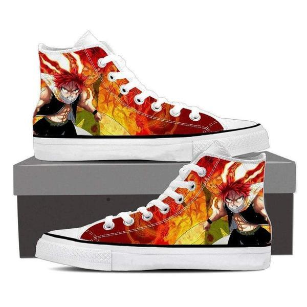 Natsu Art Magnolia Customized Angry Natsu Fairy Tail Sneaker Shoes 5 Official Fairy Tail Merch