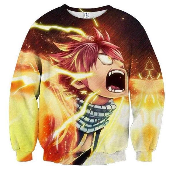 Fired Up Dragon Natsu 3D Printed Sweatshirt XXS Official Fairy Tail Merch