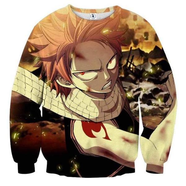 Fairy Tail Fight Natsu Fairy Tail Sweatshirt XXS Official Fairy Tail Merch