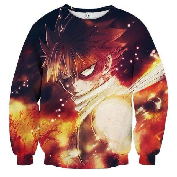 Fairy Tail Fired On Natsu Fairy Tail Sweatshirt XXS Official Fairy Tail Merch