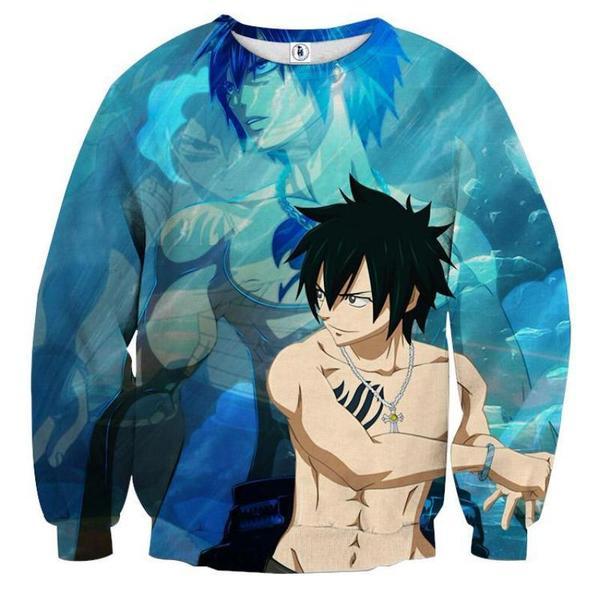 Fairy Tail Gray Blue Fairy Tail Sweatshirt XXS Official Fairy Tail Merch
