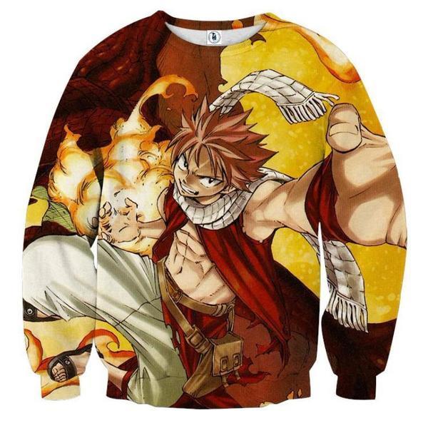 Fairy Tail Natsu Fire Fairy Tail Sweatshirt XXS Official Fairy Tail Merch