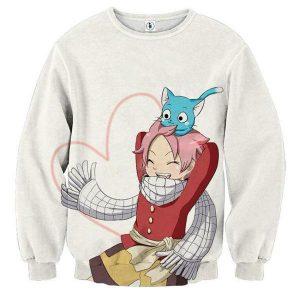 Fairy Tail Natsu Happy White Fairy Tail Sweatshirt XXS Official Fairy Tail Merch