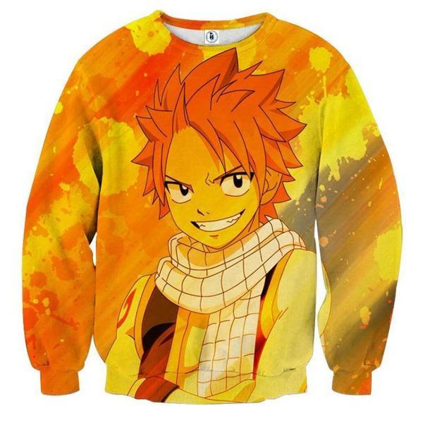 Fairy Tail Natsu Smilling Fairy Tail Sweatshirt XXS Official Fairy Tail Merch