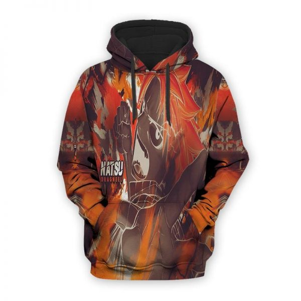 Natsu Dragneel 3D Printed Dragon Fire Hip Hop Designed Hoodie XS Official Fairy Tail Merch