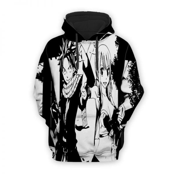 Fairy Tail Lucy and Natsu Blaack & White Fairy Tail Hoodie XXS Official Fairy Tail Merch