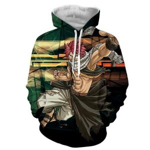 Natsu Action Dragneel Fairy Tail 3D Printed Hoodie XXS Official Fairy Tail Merch