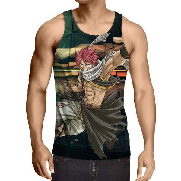 Natsu Merlin Fairy Tail 3D Printed Tank Top-Son Of Dragon Tank Top XXS / Multi-color Official Fairy Tail Merch