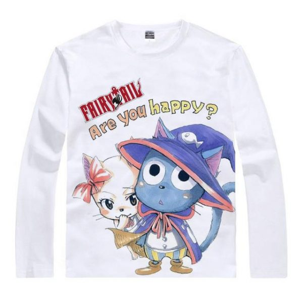 """Fairy Tail Long Sleeve Shirt フェアリーテイル """"Are you Happy?"""" Asian M / White Official Fairy Tail Merch"""