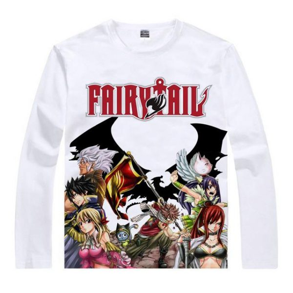 Fairy Tail Long Sleeve Shirt フェアリーテイル Fairy Tail Guild with Dragon Asian M / White Official Fairy Tail Merch