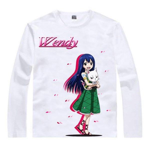 Fairy Tail Long Sleeve Shirt フェアリーテイル Wendy and Carla Asian M / White Official Fairy Tail Merch