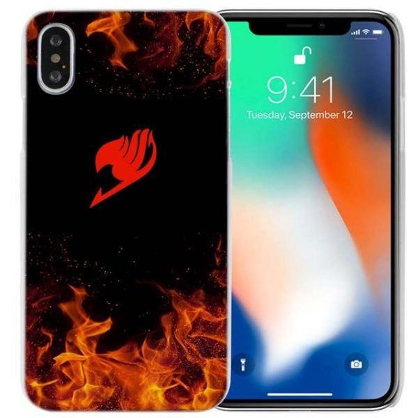 Red Guild Emblem in Flames Fairy Tail iPhone Case フェアリーテイル Apple iPhones for iPhone 4 4S / Black Official Fairy Tail Merch