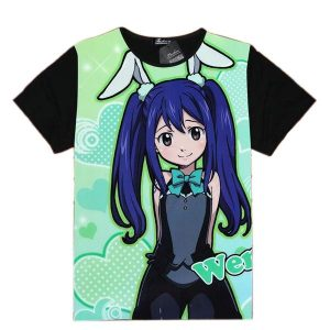Fairy Tail Shirt フェアリーテイル Bunny Wendy Asian M / Black Official Fairy Tail Merch