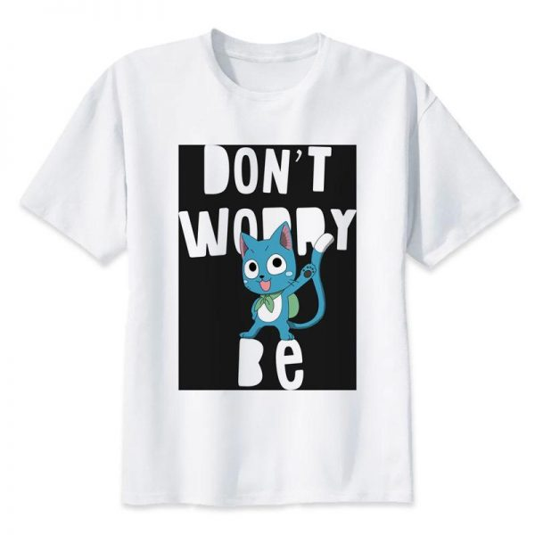 Fairy Tail Shirt フェアリーテイル Don't Worry Be Happy Asian M / White Official Fairy Tail Merch