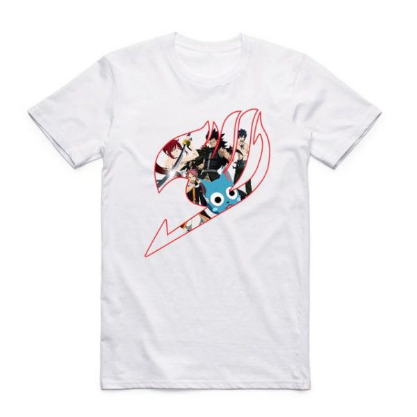 Fairy Tail Shirt フェアリーテイル Emblem with Characters Asian M / White Official Fairy Tail Merch
