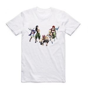 Fairy Tail Shirt フェアリーテイル Five Characters Asian M / White Official Fairy Tail Merch