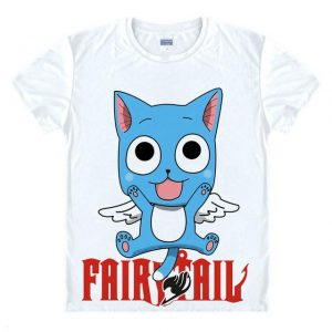 Fairy Tail Shirt フェアリーテイル Flying Happy Asian M / White Official Fairy Tail Merch