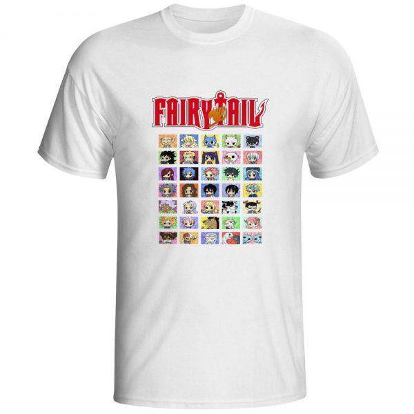 Fairy Tail Shirt フェアリーテイル Grid of Chibi Characters Asian M / White Official Fairy Tail Merch