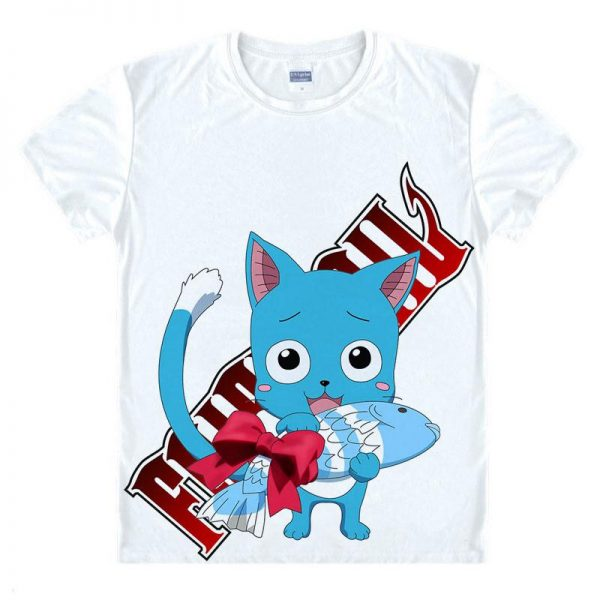Fairy Tail Shirt フェアリーテイル Happy Gifting Fish Asian M / White Official Fairy Tail Merch