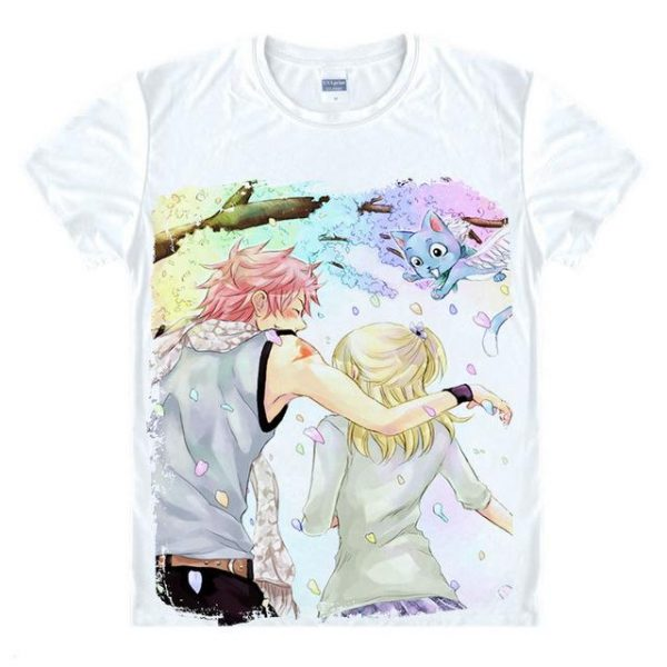 Fairy Tail Shirt フェアリーテイル Natsu & Lucy Fantasy Asian M / White Official Fairy Tail Merch