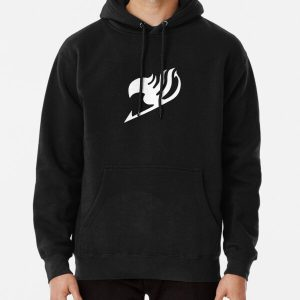 Fairy Tail logo, handmade, white and black Pullover Hoodie RB0607 product Offical Fairy Tail Merch