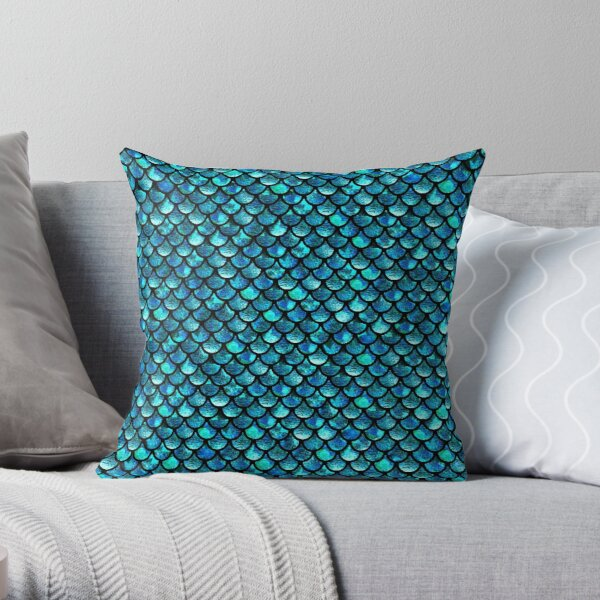 Mermaid Scales - Turquoise Blue Throw Pillow RB0607 product Offical Fairy Tail Merch