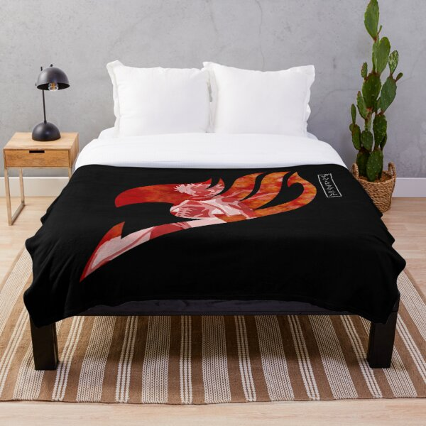 Natsu Dragneel  Fire - Fairy Tail Symbol - Dark Colors Throw Blanket RB0607 product Offical Fairy Tail Merch